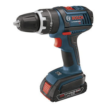 Bosch HDS181-01 18V Cordless Lithium-Ion Compact Tough 1\/2 in. Hammer Drill Driver with 2 Fat Pack HC Batteries