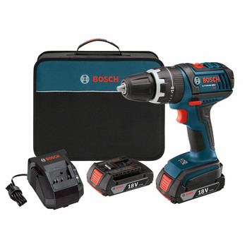 Bosch HDS181-02 18V Cordless Lithium-Ion Compact Tough 1\/2 in. Hammer Drill Driver with 2 Slim Pack HC Batteries