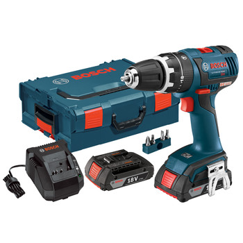 Bosch HDS182-02L Compact Tough 18V Cordless Lithium-Ion Brushless 1\/2 in. Hammer Drill Driver Kit with L-BOXX 2 Storage Case