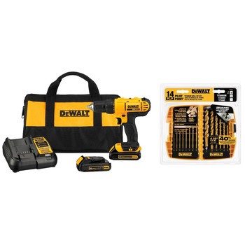 Dewalt DCD771C2-1354-BNDL 20V MAX Cordless Lithium-Ion 1\/2 in. Compact Drill Driver Kit with 14-Piece Titanium Drill Bit Set