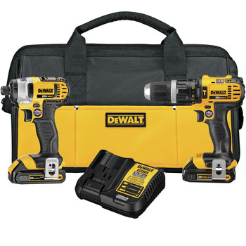 Dewalt DCK285C2 20V MAX Cordless Lithium-Ion 1\/2 in. Compact Hammer Drill and Impact Driver Combo Kit