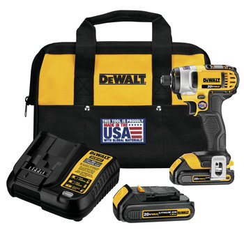 Dewalt DCF885C2R 20V MAX Cordless Lithium-Ion 1\/4 in. Impact Driver Kit