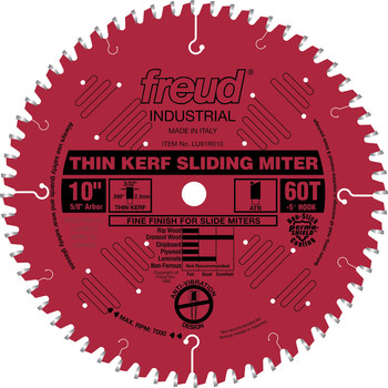 Picture of Freud LU91R010 10 in 60 Tooth Thin Kerf Sliding Compound Miter Saw Blade