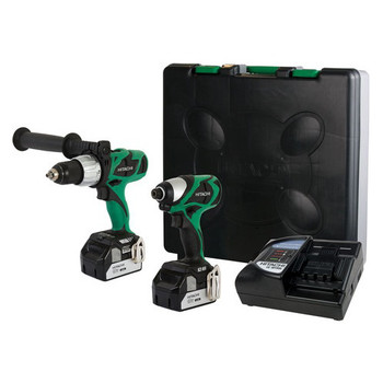 Hitachi KC18DJL HXP 18V Cordless Lithium-Ion 1\/2 in. Brushless Hammer Drill and Impact Driver Combo Kit