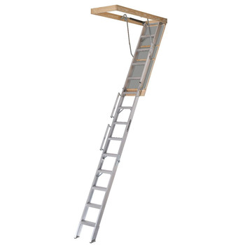Picture of Louisville AL258P Everest 350 lbs Load Capacity 25-12 in x 63 in Open Ceiling Aluminum Attic Ladder for 12 ft Ceiling Heights