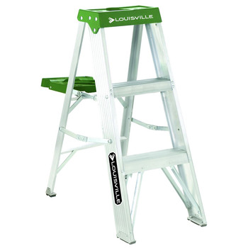 Picture of Louisville AS4003 3 ft Type II Duty Rating 225 lbs Load Capacity Aluminum Step Ladder with Molded Pail Shelf