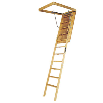 Picture of Louisville L305P Big Boy 350 lbs Load Capacity 30 in x 60 in Open Ceiling Wood Attic Ladder for 10 ft Ceiling Heights