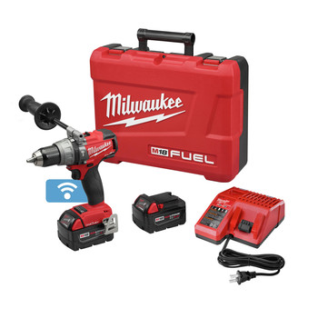 Milwaukee 2706-82 M18 FUEL 18V 5.0 Ah Cordless Lithium-Ion 1\/2 in. Hammer Drill Driver Kit with ONE-KEY Connectivity