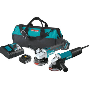 Makita DK0060MX1 18V LXT Cordless Lithium-Ion 4-1\/2 in. Angle Grinder and Corded Angle Grinder Kit