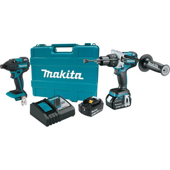 Makita XT257M-R 18V LXT Cordless Lithium-Ion Brushless Hammer Drill-Driver and Impact Driver Combo Kit