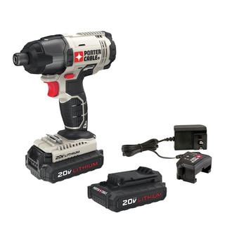 Porter-Cable PCC641LB 20V MAX 1.3 Ah Cordless Lithium-Ion 1\/4 in. Hex Impact Driver Kit