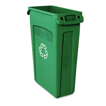 Picture of Rubbermaid 354007GN 23 Gal Slim Jim Recycling Container with Venting Channels Green