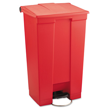 Picture of Rubbermaid 6146RED Indoor Utility 23-Gallon Rectangular Step-On Waste Container Red
