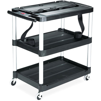 Picture of Rubbermaid 9T28 MediaMaster Portable Three-Shelf AV Cart Black