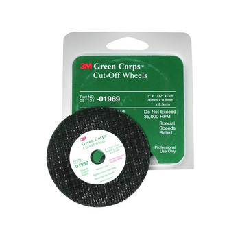 Picture of 3M 1989 Green Corps Cut-Off Wheel 3 in x 132 in x 38 in 5-Pack