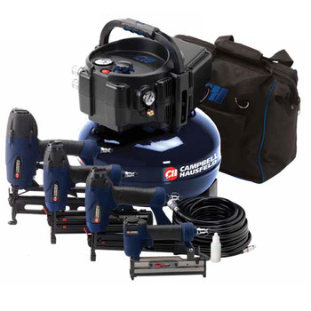 Campbell Hausfeld MW250096AV 0.8 HP 6 Gallon Oil-Free Pancake Air Compressor with Nailer and Stapler Kit at Sears.com