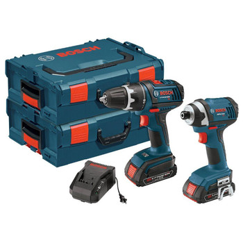 Bosch CLPK234-181L 18V Cordless Lithium-Ion 1/2 in. Drill Driver and Impact Driver Combo Kit with L-BOXX2 Storage Cases at Sears.com