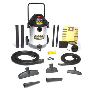 Shop-Vac&#174 9609910 14 Gallon 6.5 Peak HP Stainless Steel Industrial Ultra Pump Wet/Dry Vacuum with Dolly at Sears.com