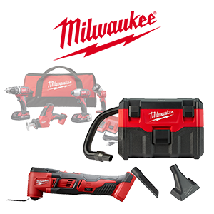 Your choice of 2 FREE Milwaukee M18 Bare Tools or Battery when you order a qualifying Milwaukee M18 Combo Kit.
