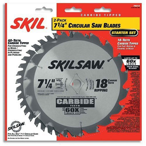 Skil 75312 7-1/4 in. 18-Tooth & 40-Tooth Circular Saw Blades (2-Pack)
