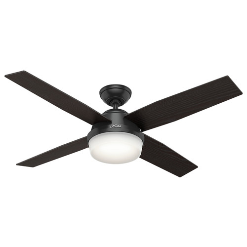 Hunter 59251 52 in. Dempsey Matte Black Ceiling Fan with Light and Remote