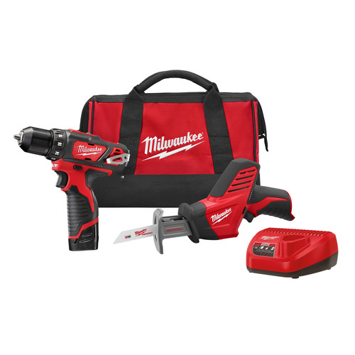 Factory Reconditioned Milwaukee 2493-82 M12 Cordless Lithium-Ion Drill Driver and Reciprocating Saw Combo Kit image number 0