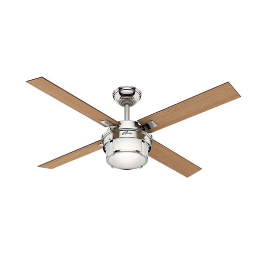 Hunter 59318 52 in. Maybeck Polished Nickel Ceiling Fan with Light with Handheld Remote
