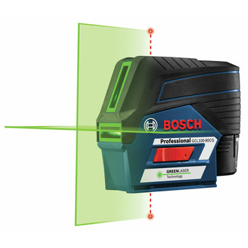 Bosch GCL100-80CG 12V Green-Beam Cross-Line Laser with Plumb Points image number 1