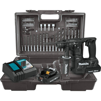 Makita XRH06RBX 18V LXT Lithium-Ion Sub-Compact Brushless 11/16 in. Rotary Hammer Kit, accepts SDS-PLUS bits, 65 Pc. Accessory Set image number 0