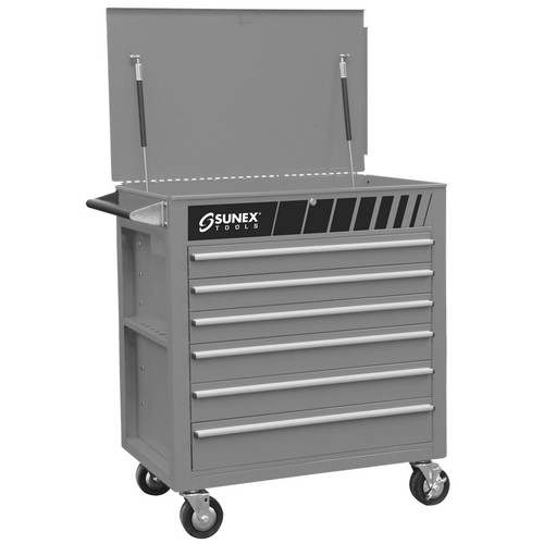 Sunex 8057S Premium Silver Full Drawer Service Cart
