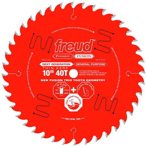 Freud P410T 10 in. 40 Tooth Thin Kerf Premier Fusion Saw Blade image number 0