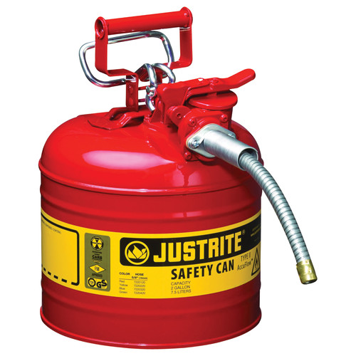 Justrite 7220120 Type II Accuflow Steel Safety Can for Oil (2 Gallons) image number 0