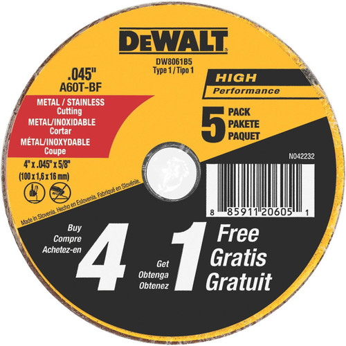 Dewalt DW8061B5 4 in. x 0.045 in. Metal and Stainless Steel Cutting Wheels (5-Pack)