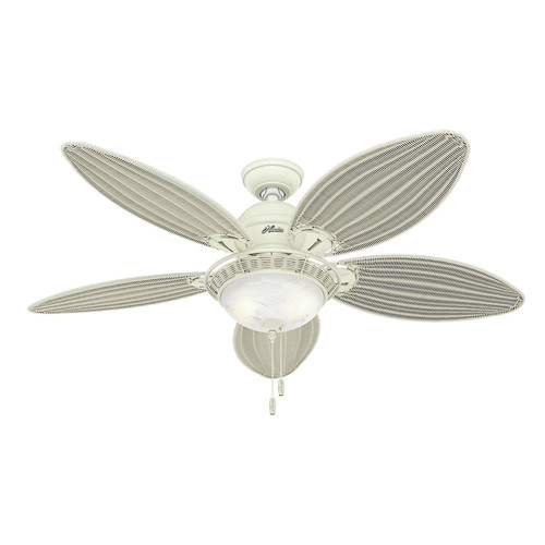 Hunter 54094 Caribbean Breeze 54 in. Casual Textured White Cream Wicker Indoor Ceiling Fan with 2 Lights