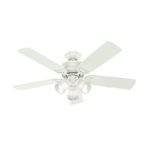 Hunter 53382 52 in. Prim Fresh White Ceiling Fan with Light