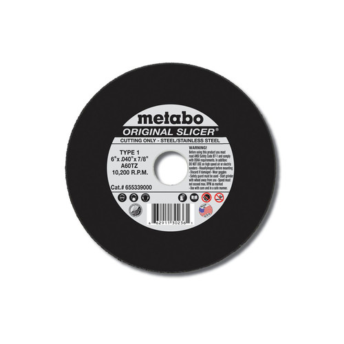 Metabo 655339000-50 6 in. x 0.040 in. A60TZ Type 1 SLICER Cutting Wheels (50 Pc)