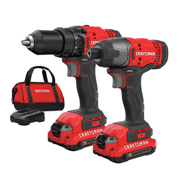 Factory Reconditioned Craftsman CMCK200C2R 20V Variable Speed Lithium-Ion 1/2 in. Cordless Drill Driver and 1/4 in. Impact Driver Combo Kit (1.3 Ah)