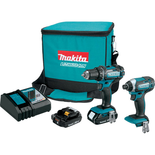Makita CT225R LXT 18V 2.0 Ah Lithium-Ion Compact Impact Driver and 1/2 in. Drill Driver Combo Kit