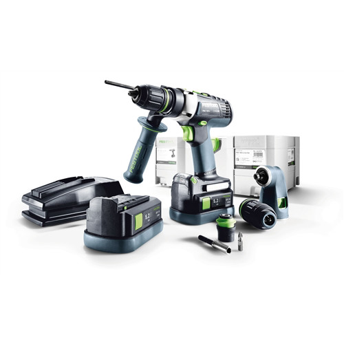 Festool PDC 18/4 QUADRIVE 18V 5.2 Ah Cordless Lithium-Ion 13mm Hammer Drill and Attachments Kit