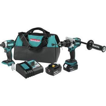 Factory Reconditioned Makita XT257T-R 18V LXT 5.0 Ah Cordless Lithium-Ion Brushless Impact Driver and 1/2 in. Hammer Drill-Driver Combo Kit