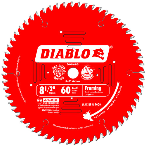 Diablo D0860S 8-1/2 in. 60 Tooth Fine Finish Saw Blade