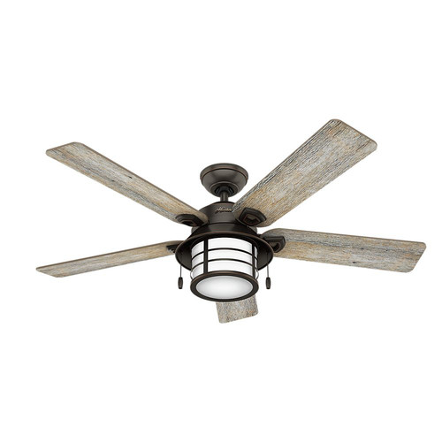 Hunter 59273 54 in. Key Biscayne Onyx Bengal Ceiling Fan with Light
