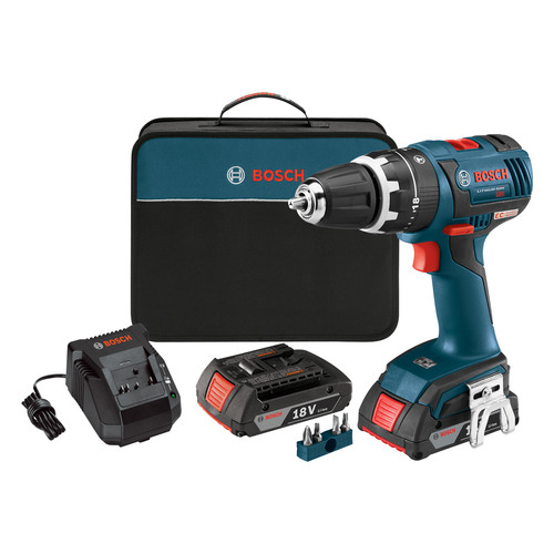 Bosch HDS182-02 18V Cordless Lithium-Ion 1/2 in. Brushless Compact Tough Hammer Drill Driver Kit