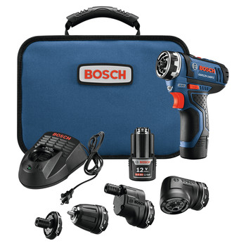 Factory Reconditioned Bosch GSR12V-140FCB22-RT 12V Lithium-Ion Max FlexiClick 5-In-1 1/4 in. Cordless Drill Driver System Kit (2 Ah)