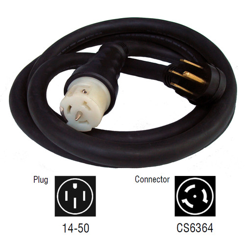 Generac 6330 50 Amp 10 ft. NEMA 1450 M/Locking CS6364 F Generator Power Cord