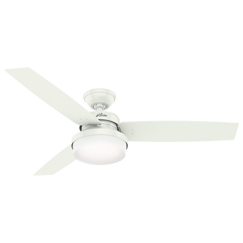 Hunter 59169 52 in. Sentinel Fresh White Ceiling Fan with Light with Handheld Remote