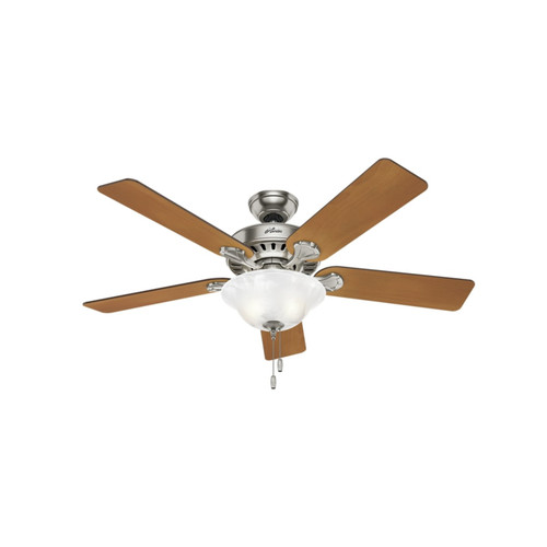 Hunter 53042 52 in. Buchanan Brushed Nickel Ceiling Fan with Light image number 0
