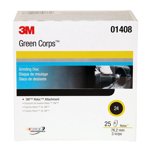 3M 1408 3 in. 24 Grade Green Corps Roloc Disc (25-Pack)