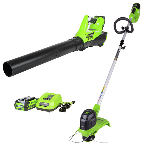 Greenworks 1301202 STBA40B210 40V String Trimmer and Axial Blower with 2 Ah Battery and Charger image number 0