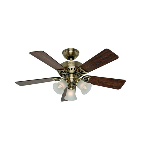 Hunter 53078 42 in. Beacon Hill Antique Brass Ceiling Fan with Light